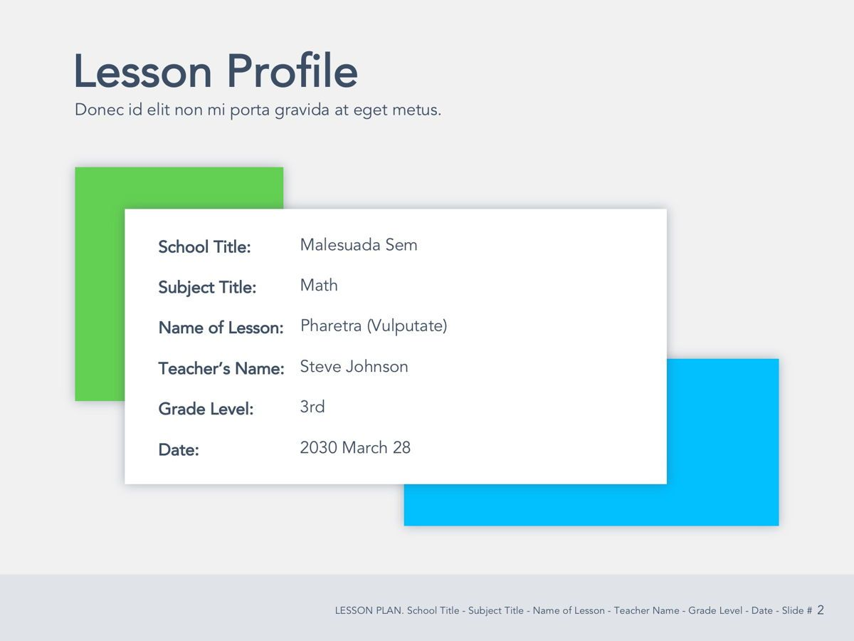 Lesson Plan Google Slides Template, Slide 3, 05143, Presentation Templates — PoweredTemplate.com