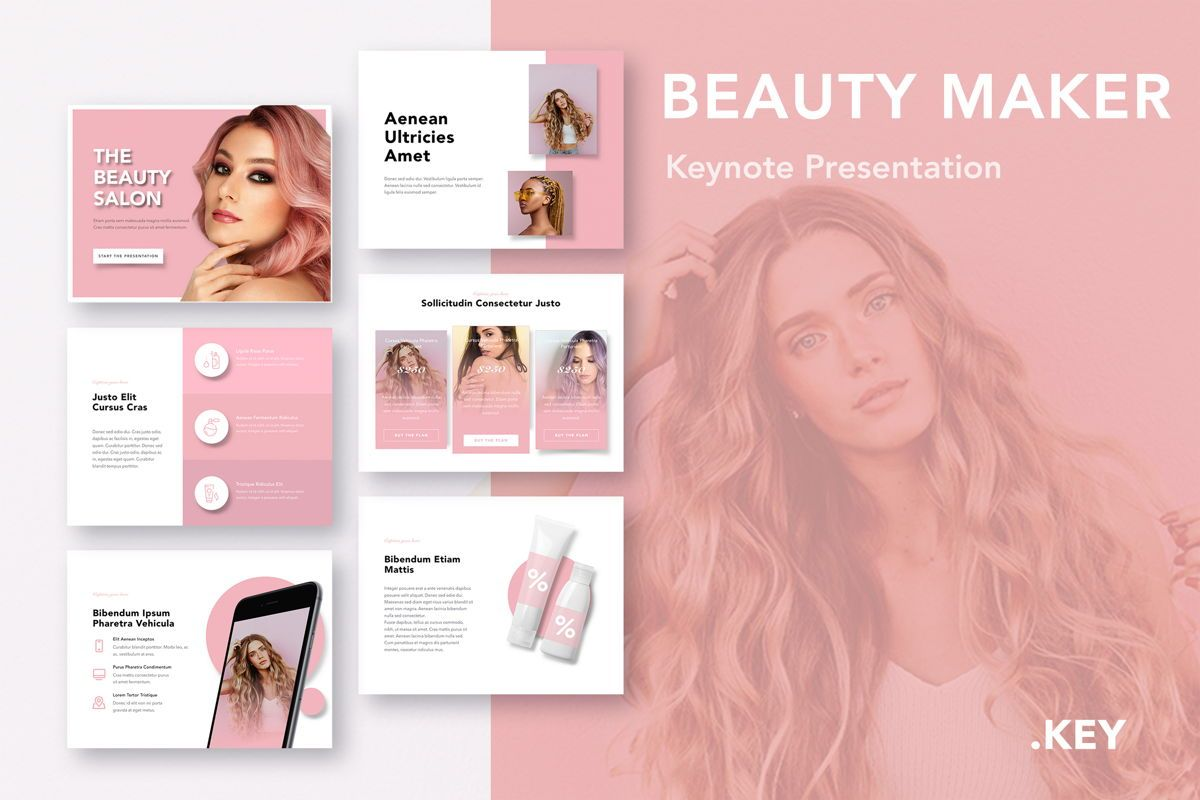 Beauty Maker Keynote Template, 05168, Presentation Templates — PoweredTemplate.com