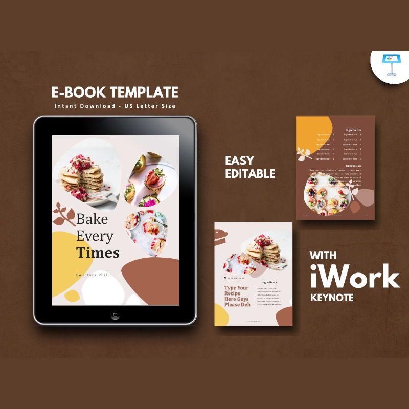 Cake bakery ebook keynote template, 05173, Presentation Templates — PoweredTemplate.com