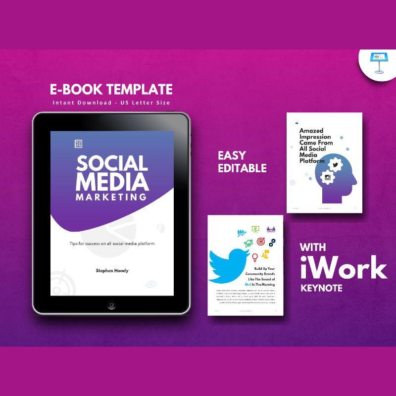 Social media marketing ebook keynote template, 05174, Presentation Templates — PoweredTemplate.com