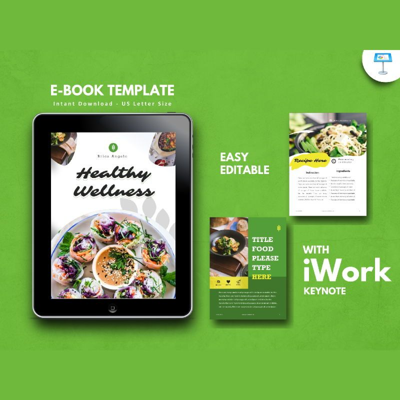 Vegan ebook keynote template, 05175, Presentation Templates — PoweredTemplate.com