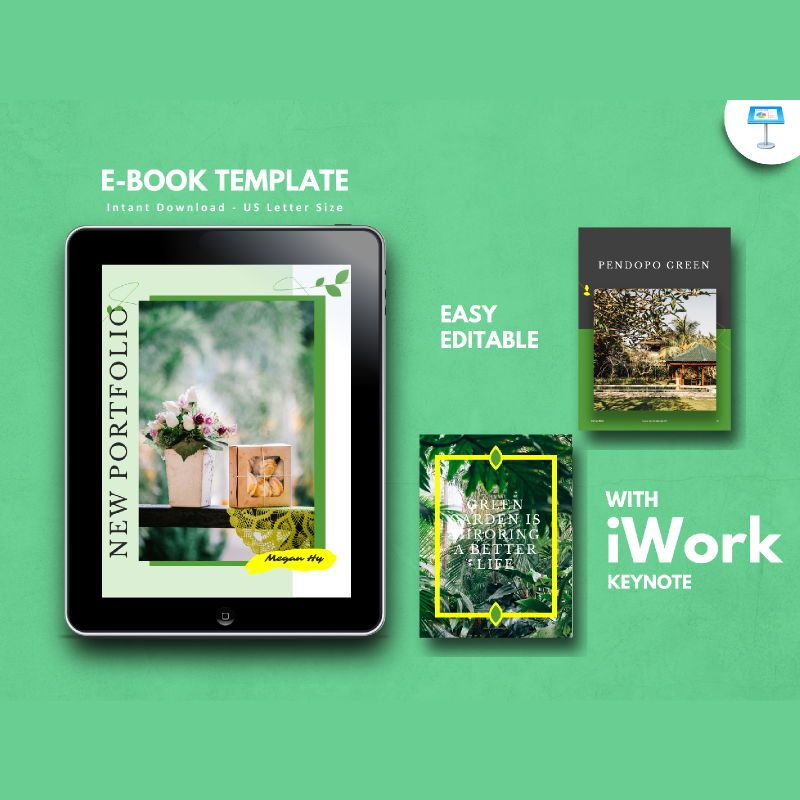Photography portfolio ebook keynote template, 05176, Presentation Templates — PoweredTemplate.com