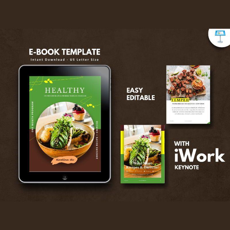 Vegetarian recipe ebook keynote template, 05177, Presentation Templates — PoweredTemplate.com