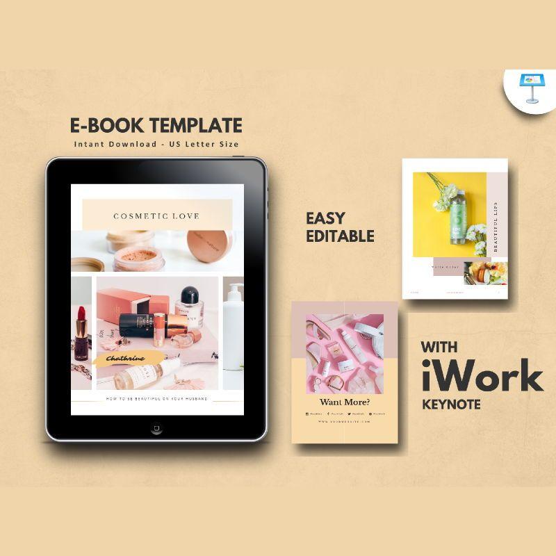 Cosmetic makeup tips ebook keynote template, 05178, Presentation Templates — PoweredTemplate.com