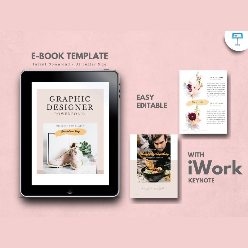 Graphic designer portfolio ebook keynote template, 05180, Presentation Templates — PoweredTemplate.com