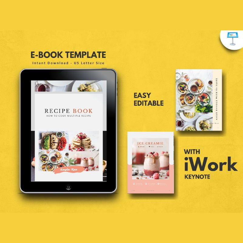 Minimal recipe ebook keynote template, 05182, Presentation Templates — PoweredTemplate.com
