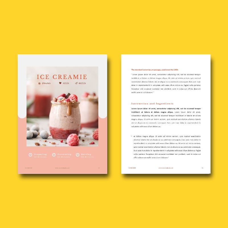 Minimal recipe ebook keynote template, Slide 8, 05182, Presentation Templates — PoweredTemplate.com