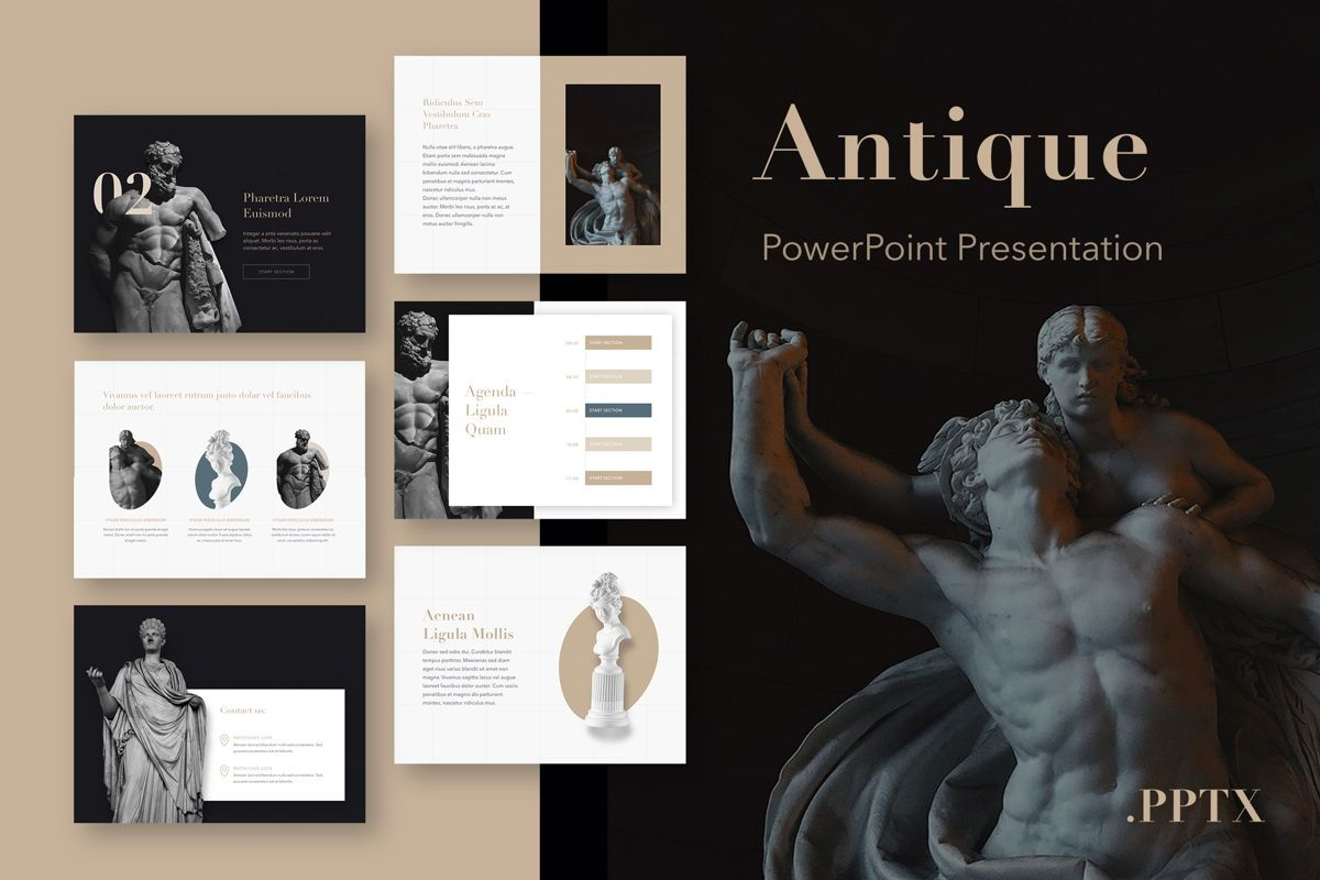 Antique PowerPoint Template, 05210, Education Charts and Diagrams — PoweredTemplate.com