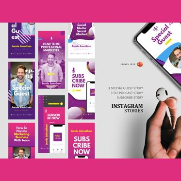 Presentation Templates: Podcast instagram stories and post template #05221