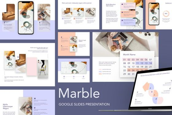 Presentation Templates: Marble Google Slides Template #05272
