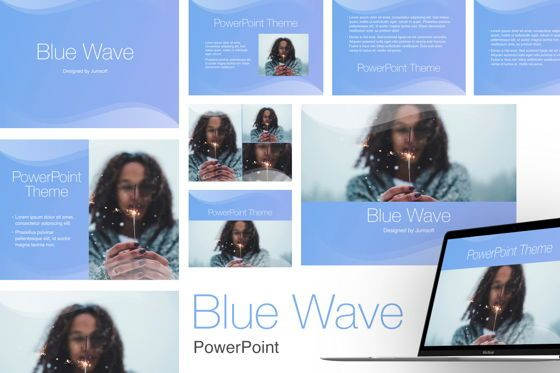 Presentation Templates: Blue Wave PowerPoint Template #05286