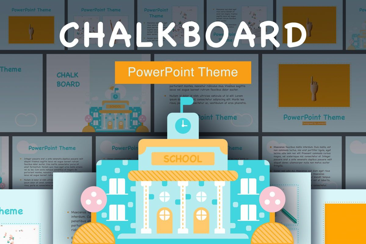 Chalkboard PowerPoint Template, 05288, Education Charts and Diagrams — PoweredTemplate.com