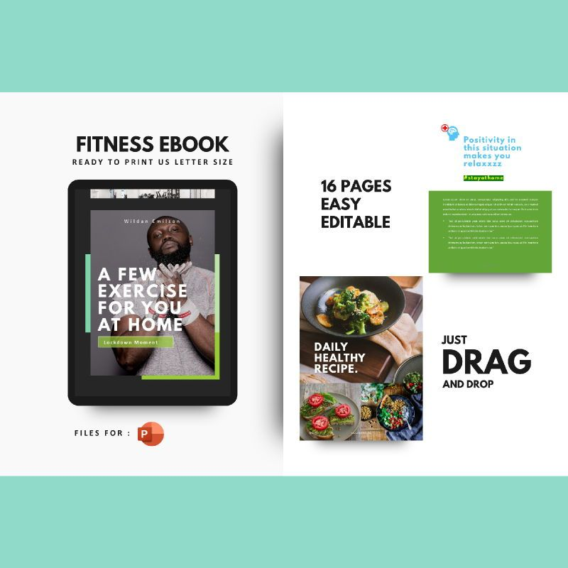 Daily fitness at your home ebook powerpoint presentation template, 05293, Presentation Templates — PoweredTemplate.com