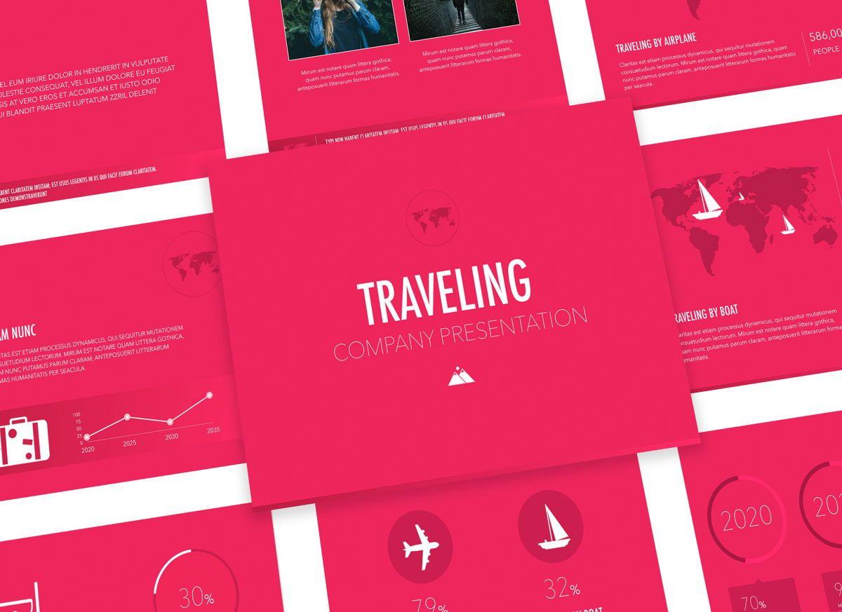 Crimson Travel Powerpoint Presentation Template, 05309, Presentation Templates — PoweredTemplate.com