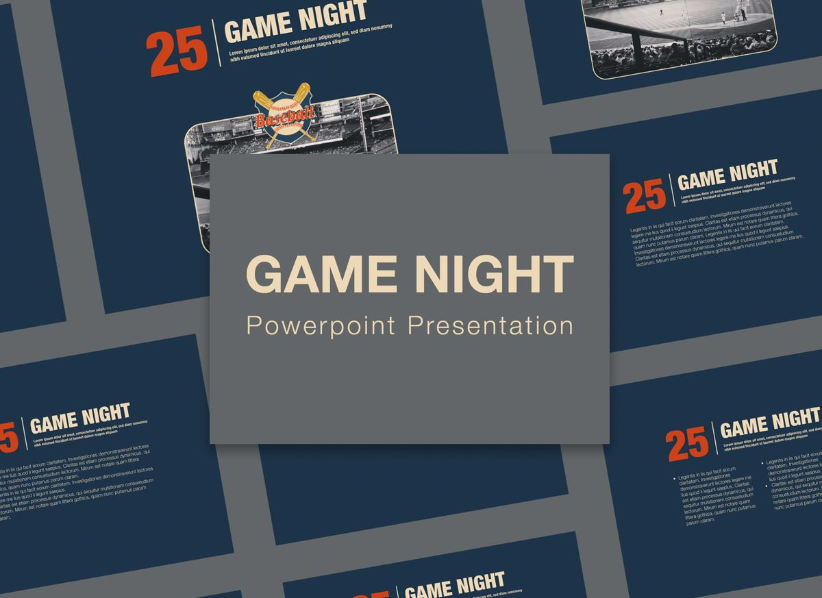 Game Night Powerpoint Presentation Template, 05311, Presentation Templates — PoweredTemplate.com