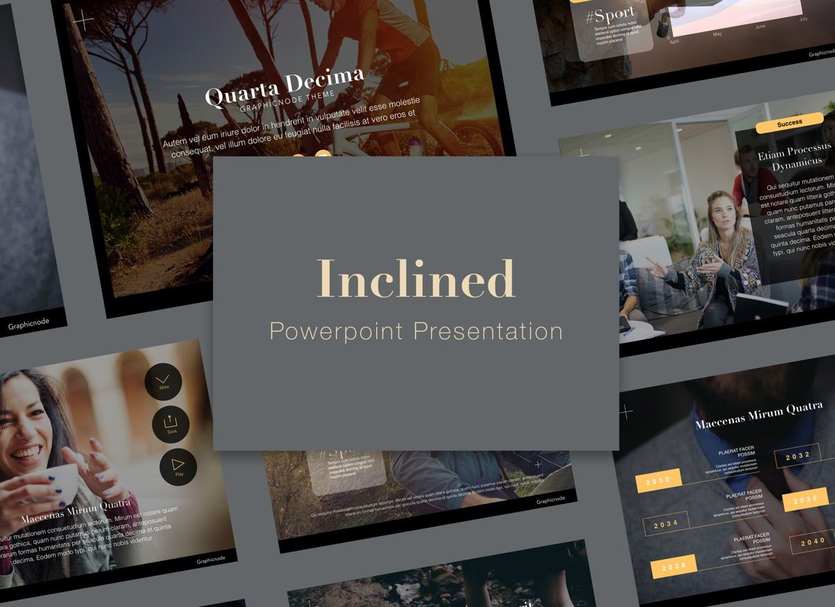 Inclined Powerpoint Presentation Template, 05313, Presentation Templates — PoweredTemplate.com