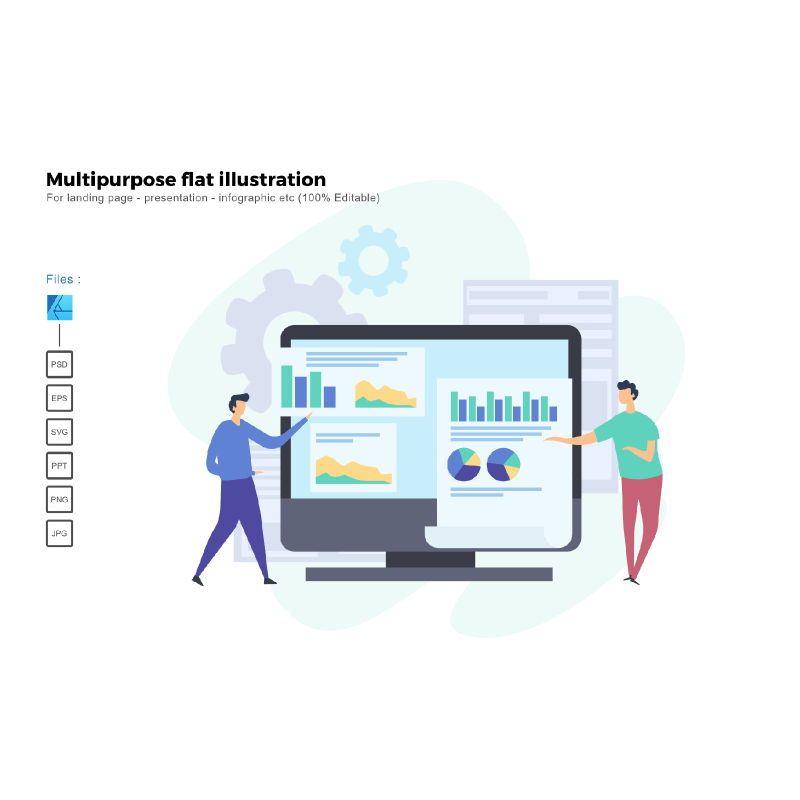 Multipurpose modern flat illustration design business concept, 05323, Infographics — PoweredTemplate.com