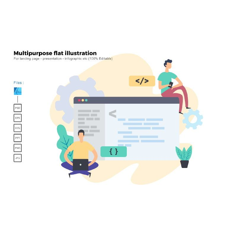 Multipurpose modern flat illustration design business concept, 05324, Infographics — PoweredTemplate.com