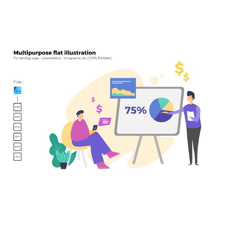 Multipurpose modern flat illustration design business concept, 05326, Infographics — PoweredTemplate.com