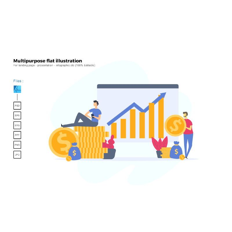 Multipurpose modern flat illustration design business investment, 05341, Business Models — PoweredTemplate.com