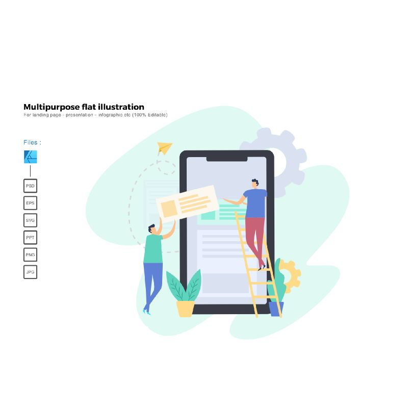 Multipurpose modern flat illustration design apps development, 05342, Presentation Templates — PoweredTemplate.com