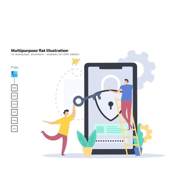 Multipurpose modern flat illustration design security apps, 05343, Infographics — PoweredTemplate.com