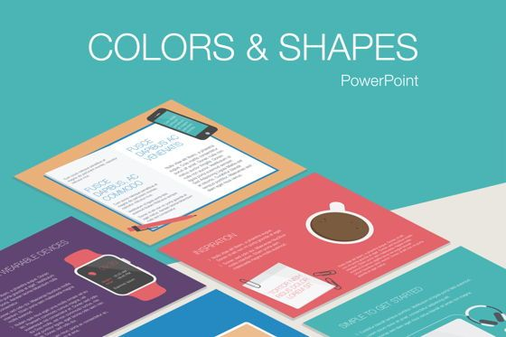 Infographics: Colors and Shapes PowerPoint Template #05344