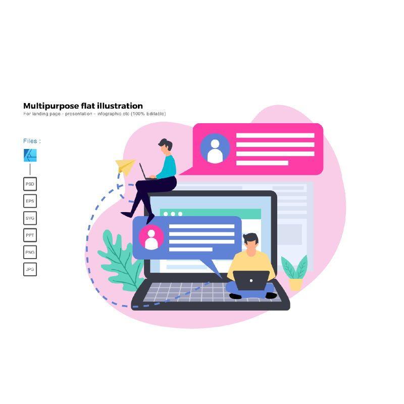 Multipurpose modern flat illustration design business chatting, 05351, Presentation Templates — PoweredTemplate.com