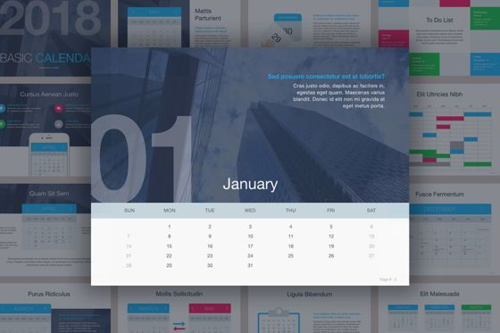Presentation Templates: Calendar Keynote Template #05352