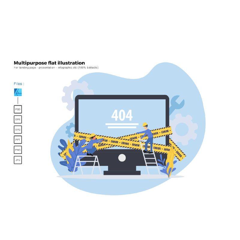 Multipurpose modern flat illustration design 404 error page, 05361, Presentation Templates — PoweredTemplate.com