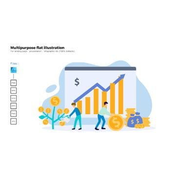 Data Driven Diagrams and Charts: Multipurpose modern flat illustration design investment plan #05362
