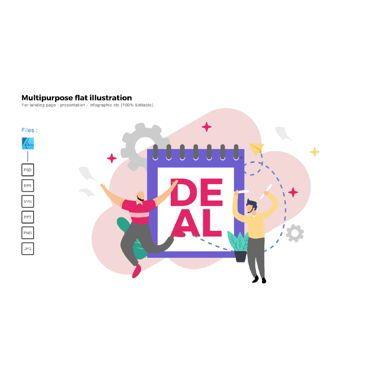 Presentation Templates: Multipurpose modern flat illustration design deal on demand #05363