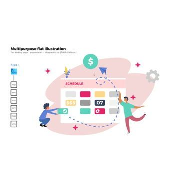 Business Models: Multipurpose modern flat illustration design schedule company #05364
