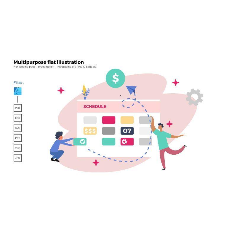 Multipurpose modern flat illustration design schedule company, 05364, Business Models — PoweredTemplate.com