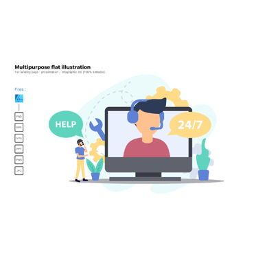 Business Models: Multipurpose modern flat illustration design customer support #05381
