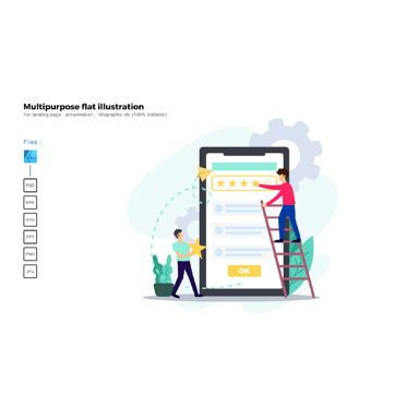 Presentation Templates: Multipurpose modern flat illustration design rating ui #05382