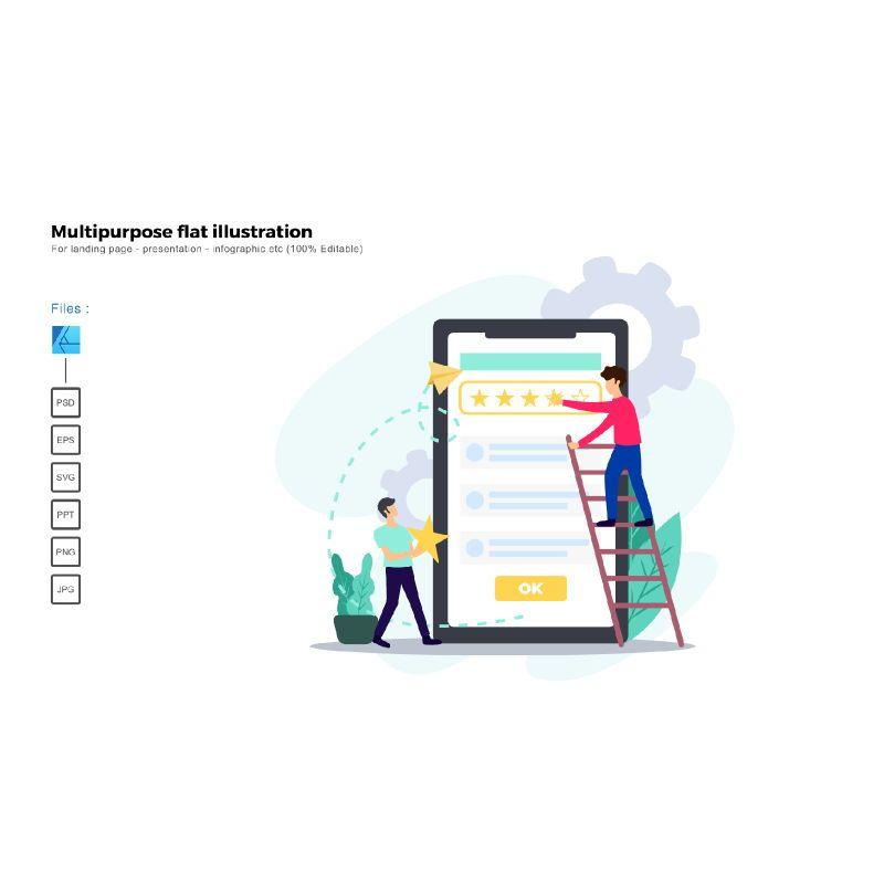 Multipurpose modern flat illustration design rating ui, 05382, Presentation Templates — PoweredTemplate.com