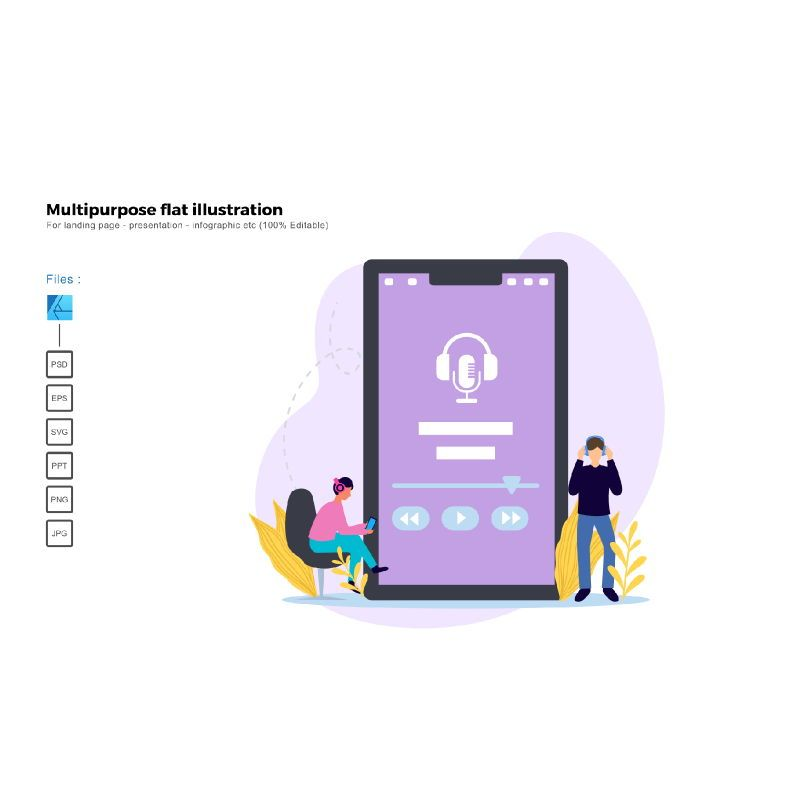 Multipurpose modern flat illustration design podcast, 05383, Presentation Templates — PoweredTemplate.com