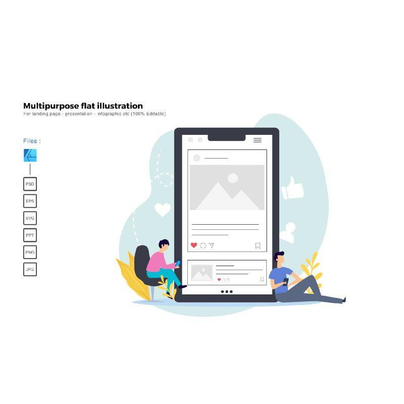 Multipurpose modern flat illustration design instagram app, 05430, Infographics — PoweredTemplate.com