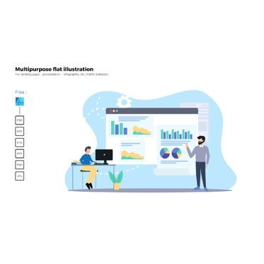 Data Driven Diagrams and Charts: Multipurpose modern flat illustration design presentation data #05500