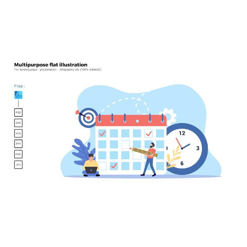 Multipurpose modern flat illustration design project deadline, 05501, Business Models — PoweredTemplate.com