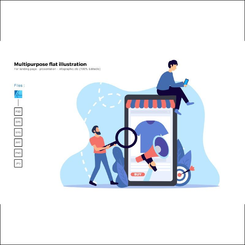 Multipurpose modern flat illustration design promotion, 05512, Business Models — PoweredTemplate.com