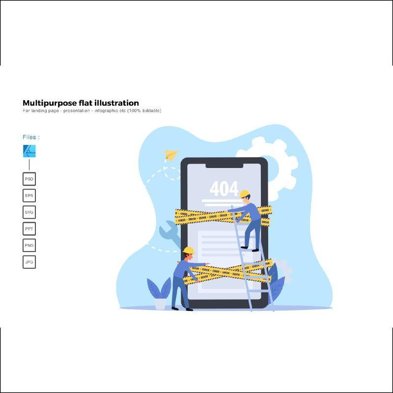 Multipurpose modern flat illustration design 404 page, 05513, Infographics — PoweredTemplate.com