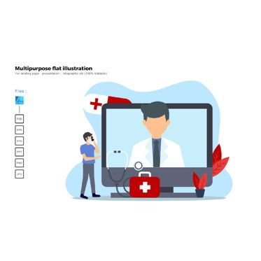 Medical Diagrams and Charts: Multipurpose modern flat illustration design medical consultation #05514