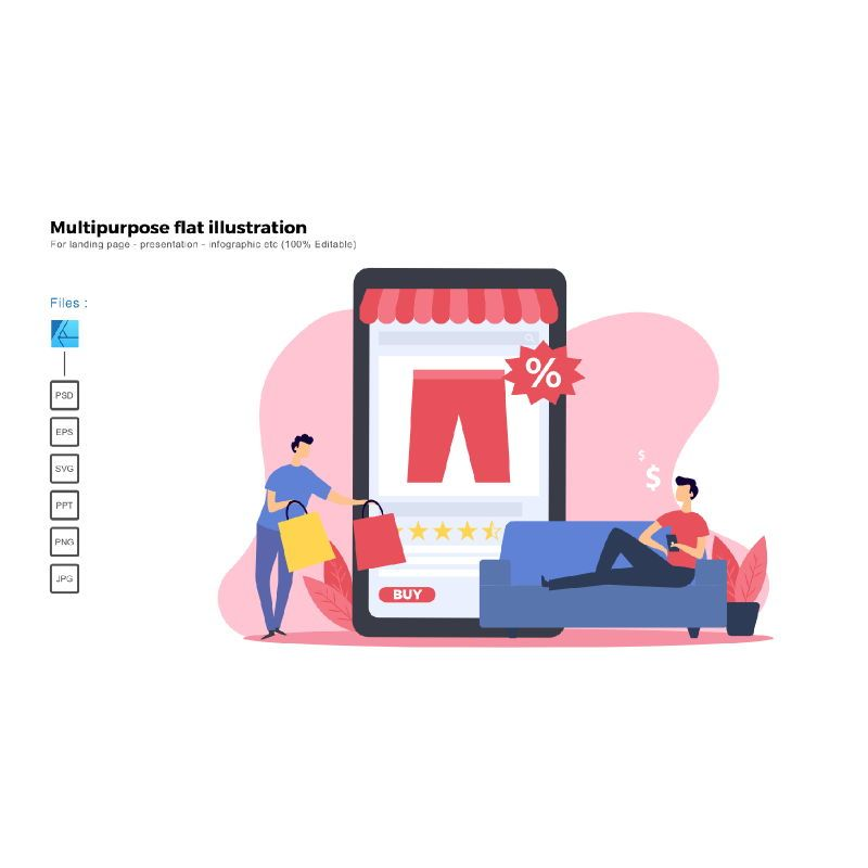 Multipurpose modern flat illustration design online shop, 05515, Business Models — PoweredTemplate.com