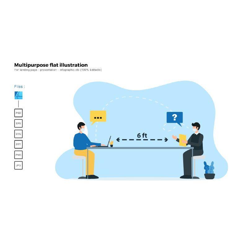 Multipurpose modern flat illustration design social distancing, 05516, Presentation Templates — PoweredTemplate.com
