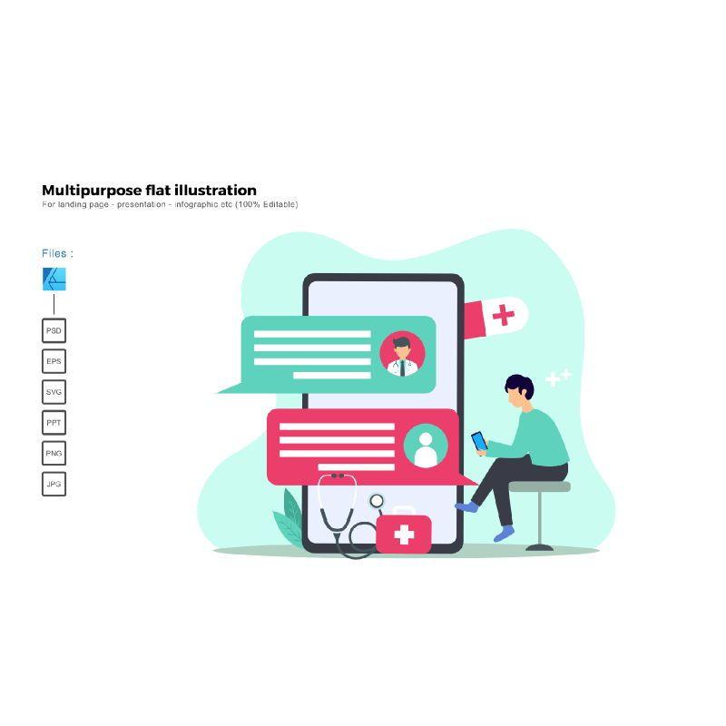 Multipurpose modern flat illustration design medical app, 05541, Infographics — PoweredTemplate.com