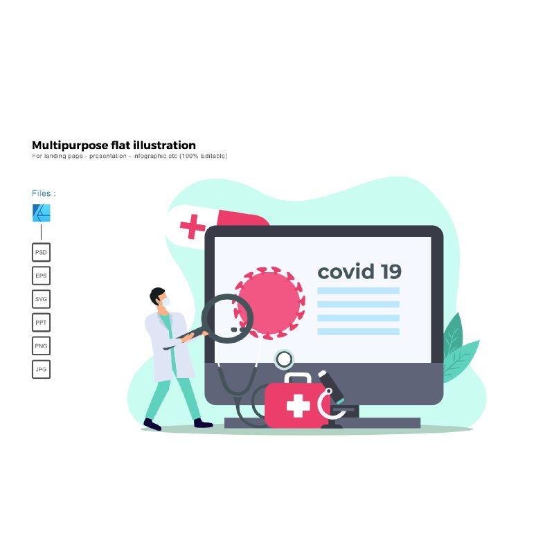Multipurpose modern flat illustration design virus research, 05542, Infographics — PoweredTemplate.com