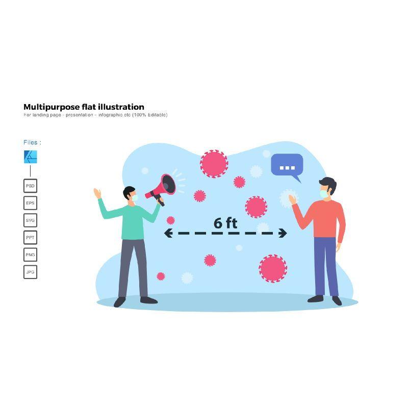 Multipurpose modern flat illustration design physical distancing, 05543, Infographics — PoweredTemplate.com
