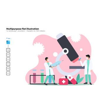Infographics: Multipurpose modern flat illustration design virus researching #05604
